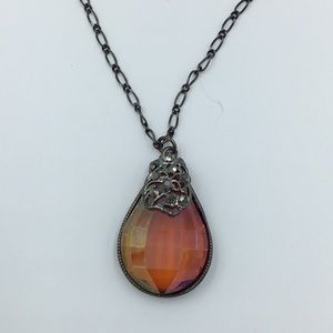 Jewelry - Duel Chain Pendant Necklace Faceted Amber Tone